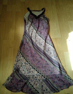 Doppellagig Chiffon-Kleid lang mit Ziervolants