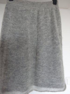 Gebreide rok zilver-antraciet Wol