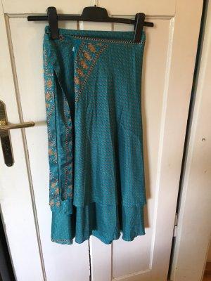 Handmade Wraparound Skirt cadet blue-bronze-colored