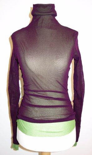 Doppellagiges Shirt von FUZZI, Gr. XS, Langarm, Aubergine/Moosgrün, Polyester