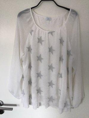 Alba Moda Bluzka z długim rękawem biały-srebrny