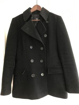 Doppelreihige, schwarze Hilfiger Jacke im Caban Stil Wolle Kaschmir