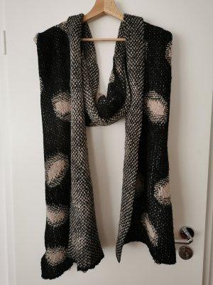 Écharpe en tricot noir-crème