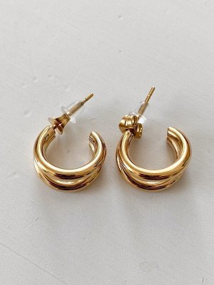 Christ Ear Hoops gold-colored