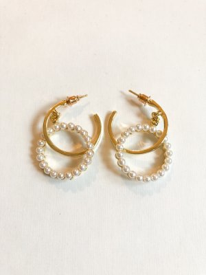 Ear Hoops gold-colored-white