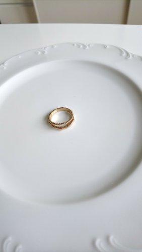 doppelter Ring vintage goldfarben strukturiert