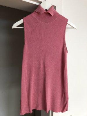 Dorothea Schumacher, Woll-Top in trendiger Farbe rosa, Grösse 36, Rollkragen mit kleiner Knopfleiste
