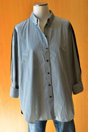 DOROTHEE SCHUMACHER 2/S oversize Longbluse Hemdbluse Bluse Blusenhemd Hemd Schwarz Grau