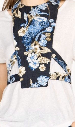 Dorothee Schumacher Empiècement de blouses rose chair-bleu azur coton