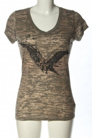 Dorothy Blue V-Ausschnitt-Shirt braun-hellgrau Allover-Druck Casual-Look