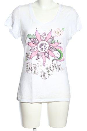 Dorothy Blue V-Ausschnitt-Shirt weiß-pink Motivdruck Casual-Look