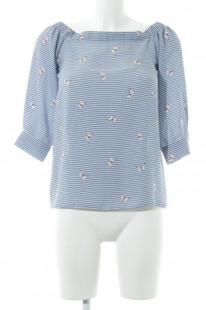 Dorothy Perkins Carmen-Bluse blau-weiß Allover-Druck Casual-Look