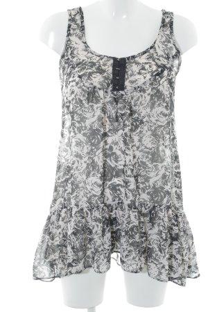 Dorothy Perkins Long-Bluse hellbeige-schwarz abstraktes Muster schlichter Stil