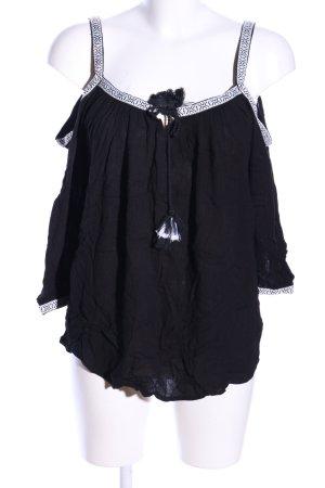 Dorothy Perkins Top sin hombros negro-blanco estampado gráfico elegante