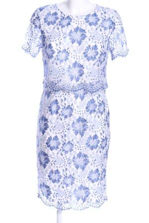 Dorothy Perkins Spitzenbluse blau-weiß Blumenmuster Elegant