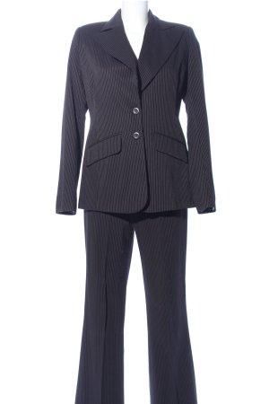 Tailleur-pantalon noir-blanc cassé motif rayé style d'affaires