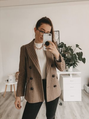 Double Breasted Striped Blazer Brown