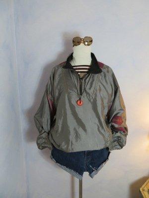 """Double Duty"" Shiny Nylon Windbreaker Anorak - Pastell Mauve Rosa Jacke - Oversize Zipper Jacke - M L XL - Bomber Blouson - 80s Vintage"