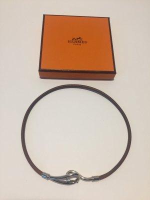 Hermès Bracelet brown-silver-colored leather