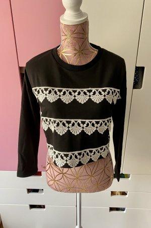 Double Zero Cropped Pullover schwarz weiß Größe S