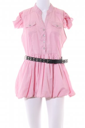 Double Zero Kurzarm-Bluse pink Casual-Look