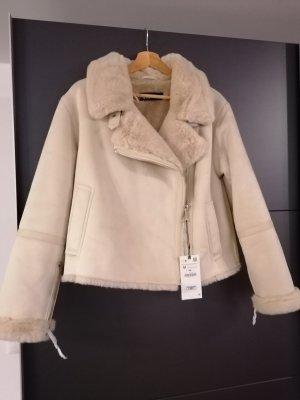 Zara Fur Jacket white-light grey fake fur