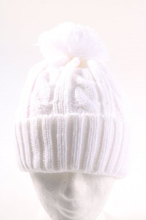 dove Pointed Hat white cable stitch casual look