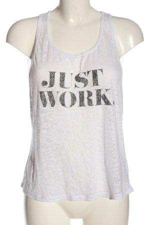 Doyoueven Camiseta sin mangas blanco-negro letras impresas look casual