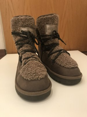 Dr. Franklin Fell Boots Fellboots Stiefel Schnürung beige 40/41