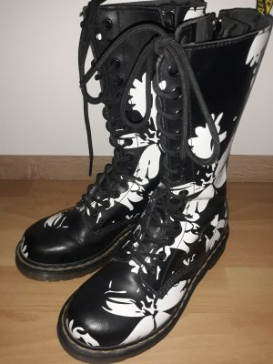 Ankle Boots black-white leather