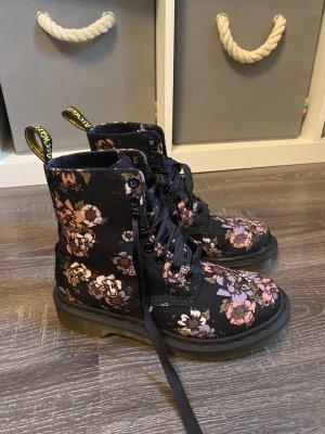 Dr. Martens Blumen Muster schwarz rosa lila biker Boots Springerstiefel neu