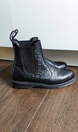 Dr. Martens Flora Croc 37 schwarz Leder Kroko Chelsea Boots