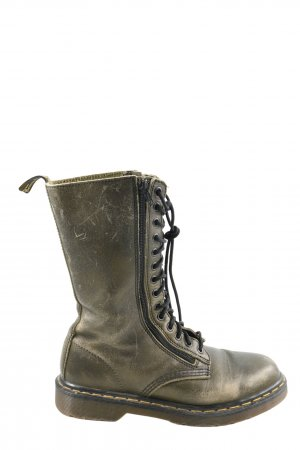 Dr. Martens Combat Boots khaki embroidered lettering casual look
