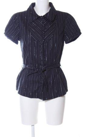 Dranella Kurzarm-Bluse schwarz-blau Streifenmuster Elegant