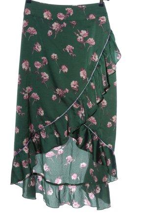Dranella Wickelrock grün-pink Allover-Druck Casual-Look