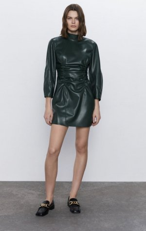 Zara Leather Dress dark green