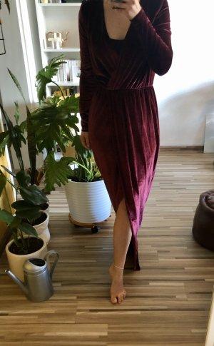 drapiertes Maxi Kleid aus Samt in Wickel Optik