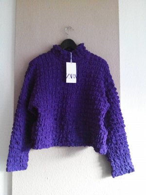 drapiertes Sweatshirt in dunkellila, Größe S, neu