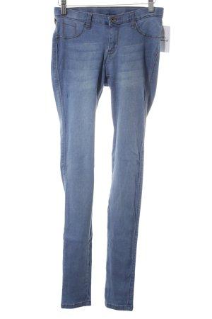 DRDENIM JEANSMAKERS Pantalone a sigaretta blu fiordaliso-bianco stile jeans