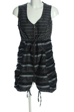 Dreamstar Blusenkleid schwarz-hellgrau Streifenmuster Casual-Look