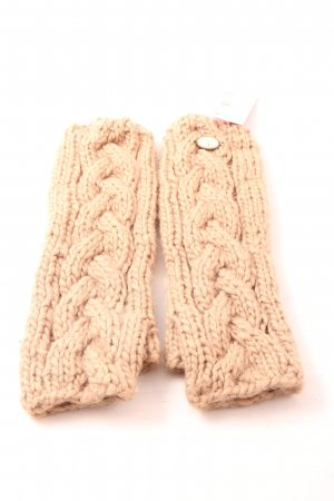DREI MASTER Fingerless Gloves cream cable stitch casual look