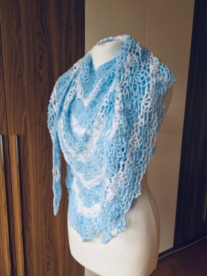 Dreieck Tuch, Handmade, 180x60cm, Blau/Weiß