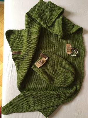 knit factory Bufanda de punto verde hierba-verde oliva