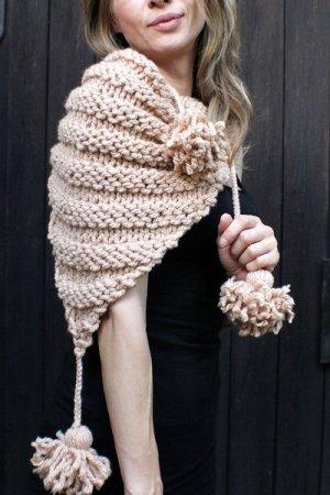 Châle au tricot brun sable acrylique