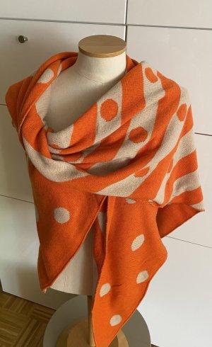 Schoudersjaal beige-oranje