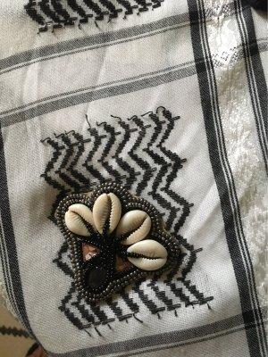 Plomo o plata Écharpe à franges noir-blanc polyester