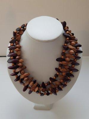 Collar estilo collier multicolor madera