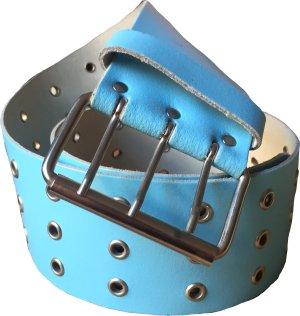 Leather Belt light blue-silver-colored
