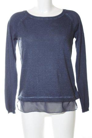 Dreimaster Langarm-Bluse blau meliert Casual-Look