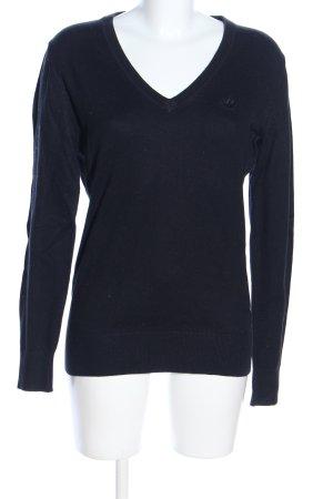 Dreimaster V-Ausschnitt-Pullover schwarz Casual-Look